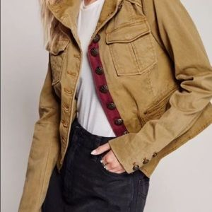 Free People Shrunken Military Jacket Size Small